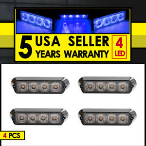 Blue 4x 4 Led Emergency Warning Strobe Light Bar Traffic Adviser Flash Cree Lamp