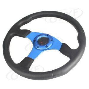 14 Universal Pu Leather Stitching Sport Racing Steering Wheel Blue 1pc Auto