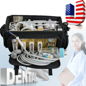 Portable Dental Unit With Air Compressor Suction System 3 Way Syringe Oral Tools