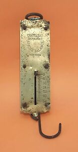 Vintage Chatillons Improved Spring Balance New York Brass Hanging Scale 50 Lb