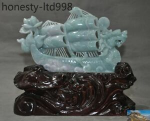 Natural Emerald Green Jade Carved Dragon Sailboat Sailing Boat Statue Sculpture