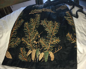Stunning Auth Vintage Silk Hakama Pants Floral Embroidery Gold Couching Lined