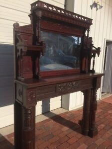 Vintage Antique Victorian Fireplace Mantel Wood And Tiles Very Unique Beautiful