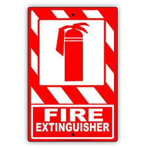 Fire Extinguisher Emergency Tool Care Building Alert Notice Aluminum Metal Sign
