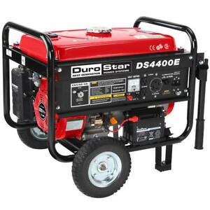 Durostar 4400 watt Portable Gas Powered Electric Start Generator With Wheel Kit