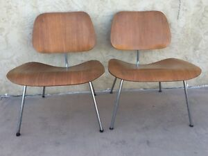 Vintage 2eames Herman Miller Molded Plywood Lounge Chairs Lcm