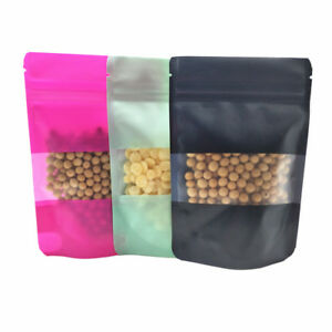 Colorful Stand Up Zipper Plastic Bag Package Poly Pouch With Window Food Storage