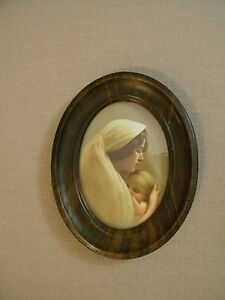 Vintage Oval Frame Mother And Child Antique Art