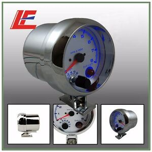 3 75 95mm Universal 0 8000 Rpm Gauge With Inter Shift Light Chrome Color Rpm G