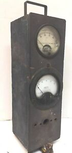 Vntg Weston Electric Amperes Model 301 Westinghouse Volt Meters In Dairy Box