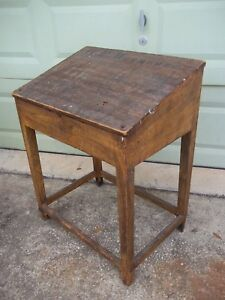 Antique 19th Century Wooden Primitive Slant Top 1800s Desk George P Wetmore