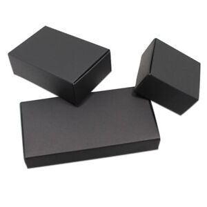 Black Kraft Paper Box Package Foldable Wedding Favor Party Xmas Gift Candy Pack