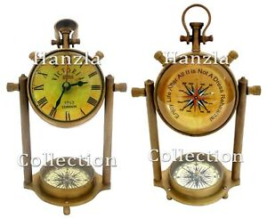 11 Antique Victorian Desk Clock With Nautical Maritime Brass Compass Home Decor