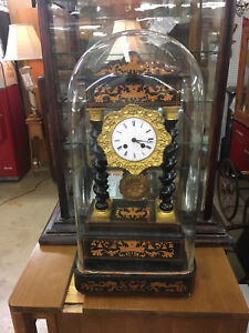 Antique 1835 50 French Empire Gilt Inlay Japy Freres Clock Under Glass Dome