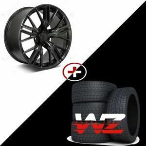 20 Satin Black Staggered New Wheels Tires 2017 Zl1 Style Fits 2010 2015 Camaro