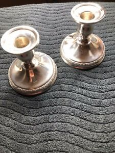 Vintage Sterling Silver Pair Candlesticks International Sterling Prelude