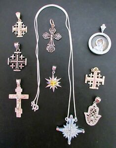 Sterling Silver Lot Of 9 Religions Pendants Not Scrap From Jerusalem 30g All New