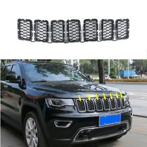 Black Front Grille Trim Insert Grill Guard Fit For Jeep Grand Cherokee 2017 2021