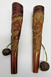 Pair Of Japanese Antique Edo Bokuto Carved Wood Handles Or Holders