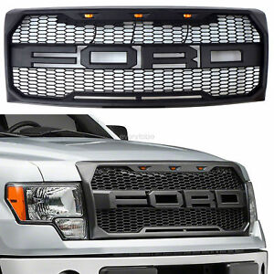 2009 2014 Ford F150 Grille Grill Raptor Style Front Bumper Hood W F R Oem Black