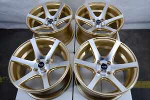 15 4x100 Gold Wheels Fits Mazda2 Mini Cooper Civic Yaris Versa Miata 4 Lug Rims