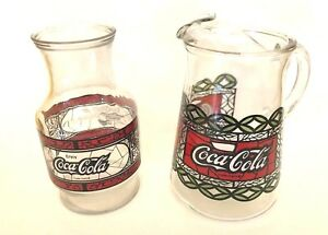 Vintage Coca Cola Glass Pitcher and Carafe Tiffany Style Coke Stained Glass Set