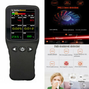 6in1 Air Quality Detector Formaldehyde Hcho Pm2 5 Pm10 Gas Analyzer Detector Lcd