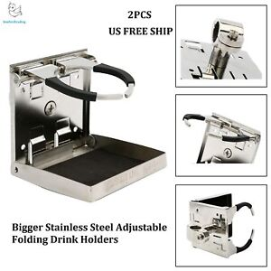 2pcs Boat Bigger Stainless Steel Adjustable Folding Drink Holders Us Free Ship