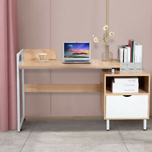 Computer Desk Pc Laptop Table Home Office Desk Study Furniture Metal W 2 Drawers