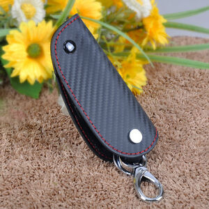 3d Leather Carbon Fiber Remote Key Case Chain Keyless Fob Cover Holder Fit Audi