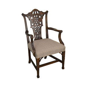 Chinese Chippendale Style Carved Mahogany Arm Chair By Century