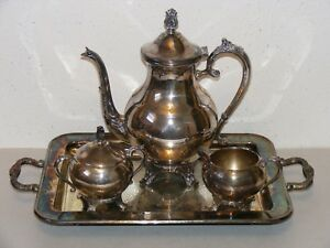 Vtg Fb Rogers Silver Co Silverplate Teapot Cream Sugar Set Serving Tray