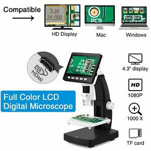 Digital Microscope 4 3 Inch 50x 1000x For Mac 10 5 Windows Xp vista 7 8 10 8led
