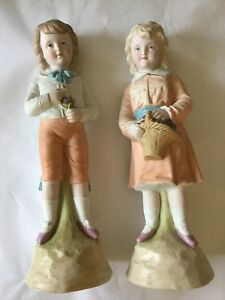 Antique Victorian Pair Of Pastel Bisque Girl Boy Figure S Figurines Germany