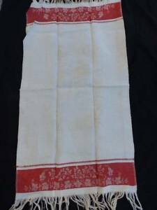 Vintage Turkey Red Fringed Linen Damask Towel Sea Serpent Shells Mint Unused