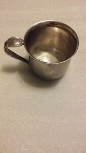 Vintage Unsigned Silver Plated Baby Cup With Spoon Handle No Monogram