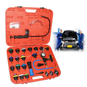 28pc Radiator Pressure Tester Test Kit With Coolant Vacuum Purge refill Adapter