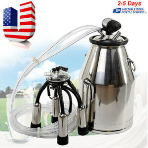 25l Stainless Steel Portable Cow Milker Bucket Tank Milking Machine For Farm Cow