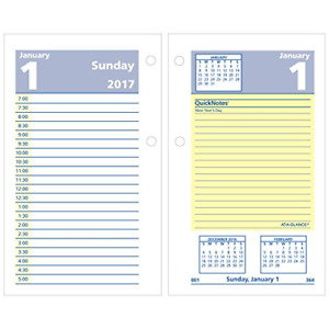 At a glance Daily Desk Calendar 2017 Refill Quick Notes 12 Months 3 1 2 X 6