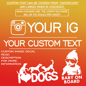 Custom Text Instagram Name Image Vinyl Car Truck Decal Sticker