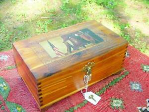 Patriotic Cedar Wood Carved Locking Jewelry Box With Liberty Bell Flag Print