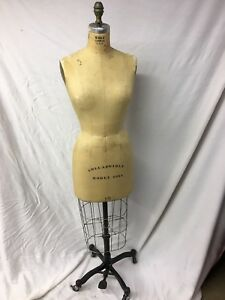 Vintage Wolf Mannequin Model 1981 Size 10 W cage Cast Iron Base
