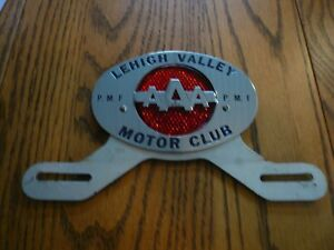 Vintage Lehigh Valley Pmf Motor Club Aaa License Plate Topper Frame