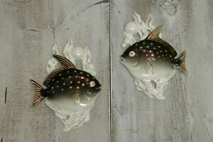 Mid Century Modern Lefton Black White Fish Ceramic Wall Plaques Hangings 50 S