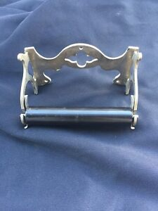 Antique Nickel Victorian Toilet Paper Tissue Holder Old Vintage Bathroom