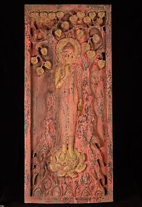 Antique Thai Style Wood Standing Protection Monday Buddha Panel 110cm 43 25