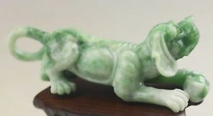 Chinese Old Natural Green Jadite Hand Carved Dushan Jade Dog Statue Pendant