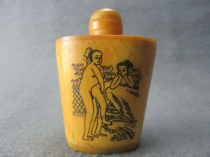 Chinese Master Hand Painted Characters The Story Cattle Bone Snuff Bottle