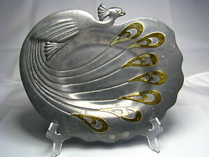 Mixed Metals Art Nouveau Pewter Plate Tray Dish Peacock W Brass Feathers C1900s