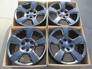 20 Chevy Tahoe Factory Wheels Rims Gloss Black Alloys Silverado Suburban Set 4